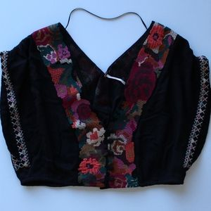 free people black embroidered crop top